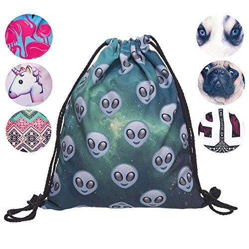 Schultertasche / Rucksack mit Kordelzug aus Nylon, faltbar, Aufbewahrungsmöglichkeit für Schule, Zuhause, Reisen, Sport, Alien