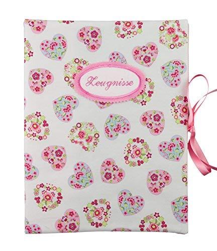 bettina bruder - Zeugnismappe DIN A4 - innen 30 Sichthüllen - Herzen Blumen weiß rosa
