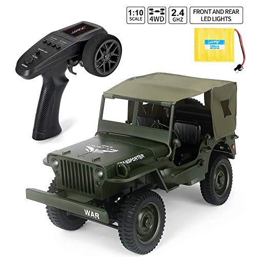 ffengg rc camión militar truck - 1: 10 4 wd rc jeep off-road truck 2.4 ghz simulation vehículo modelo mando a distancia eléctrico climbing car