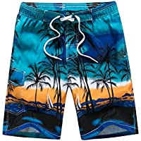 Vosarea Pantalones Cortos de Surf para Hombre Pantalones Cortos Sueltos Surf de Playa Junto a la Personalidad de natación en el mar - (Azul M)
