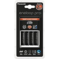 Panasonic Smart-Quick Charger Caricabatterie con 4 Stilo AA Ricaricabili Eneloop Pro, Nero