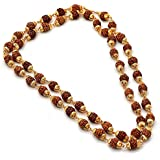 RUDRADIVINE Brown Plated Rudraksha Mala Chain with Golden Cap for Men and Women