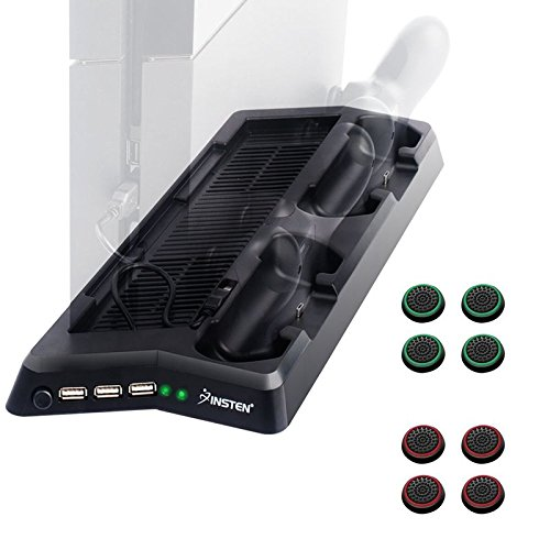 Insten Vertical Cooling Stand Organizer Charging Station compatible with PS4 + Insten Replacement [4 Pair/ 8 Pcs] Silicone Analog Thumb Grip Stick Cover Cap (Black/Green) (Black/Red) -