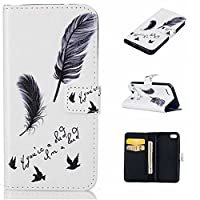 iPhone 5C Case, KKEIKO® iPhone 5C Wallet Case [with Free Tempered Glass Screen Protector], Elegant PU Leather Flip Cover Case, Book Style Wallet Holster Case with Shock-Absorption Cover for Apple iPhone 5C (Feather)