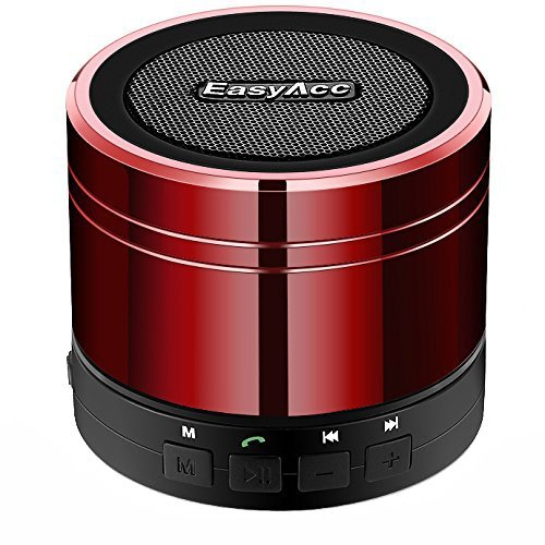 EasyAcc Mini Portable Bluetooth 4.0 Lautsprecher Speaker mit Multifunktions (FM Radio, 3,5 mm Audio, Micro SD Karte Slot, Mikrofon) Rot Smartphone-lautsprecher