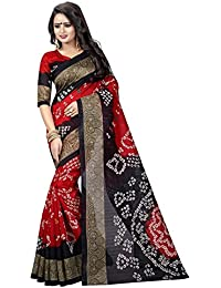 Pricefab Women's Bhagalpuri Silk Printed Saree With Blouse Piece - Sarees 06_Red_Free Size