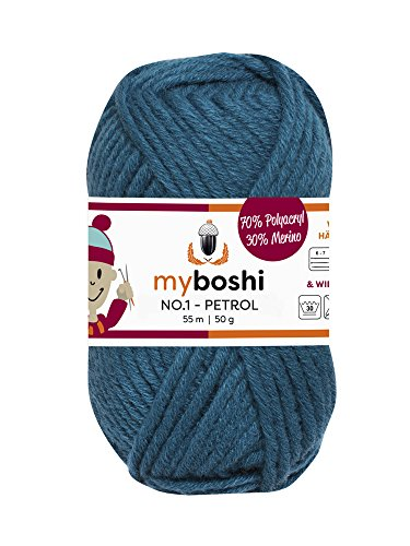 Myboshi (154 petrol) Merino Wolle/Acrylgarn No. 1 zum stricken, häkeln und für die Handarbeit (55m/50gr)