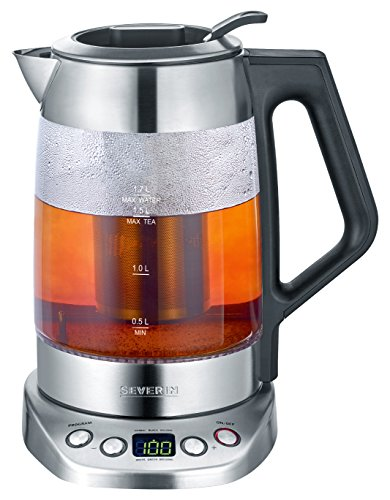 Severin WK 3479 Digital Glass Tea Water Kettle Deluxe with Easy Select Function, 3000 W, 1.7 liters, Brushed Stainless Steel/Black