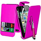 (Hot Pink) Apple iPhone 4/4S Schutzfolie Faux Credit / Debit Card Leder Flip Skin Case Hülle Cover, einziehbare Touch Screen Stylus Pen & LCD Screen Protector Guard von Spyrox