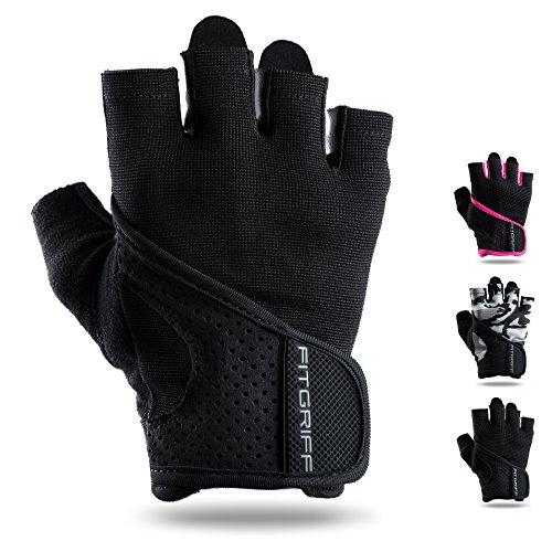 Fitgriff Fitness Handschuhe für Damen und Herren - Leichte Trainingshandschuhe Ohne Handgelenkstütze für Krafttraining, Bodybuilding, Gewichtheben & Crossfit Training (Schwarz, M)