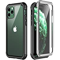 Temdan iPhone 11 Pro Max Case, Full Body with Built-in Screen Protector Heavy Duty Protection Shockproof Slim Fit Cover for iPhone 11 Pro Max (2019) 6.5 Inch - Black/Clear