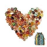 101 Pezzi Gemstone Natural Stone Set Natural Tumbled Stone in Varie Misure | Pratico in Tote Bag Colorata | Offerta per Bambini Caccia al Tesoro Sandkas, per la Decorazione, Come Pietre curative