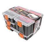 Tactix Sortimentskasten, Organizer 4-teilig, 4 Boxen mit herausnehmbaren Innenteilern und Einsätzen sowie anpassbaren Fächern, 320020