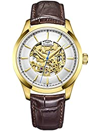 5924ff2cc1db Rotary Mens Skeleton Automatic Watch with Leather Strap GS05035 03