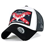 ililily GREAT Golfermütze Flicken klassischer Stil abgenutztes Aussehen Netz Baseball Cap Trucker Cap Hut , Black Grey