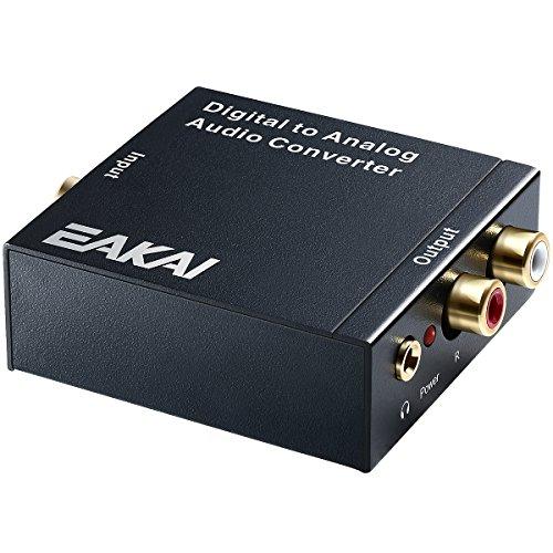 EAKAI Digital (Toslink und Koaxial) zu Analog (Cinch) Audio Wandler, Digital zu Analog Audio Konverter mit 3.5mm Jack, 96 kHz 24-bit Audio Wandler