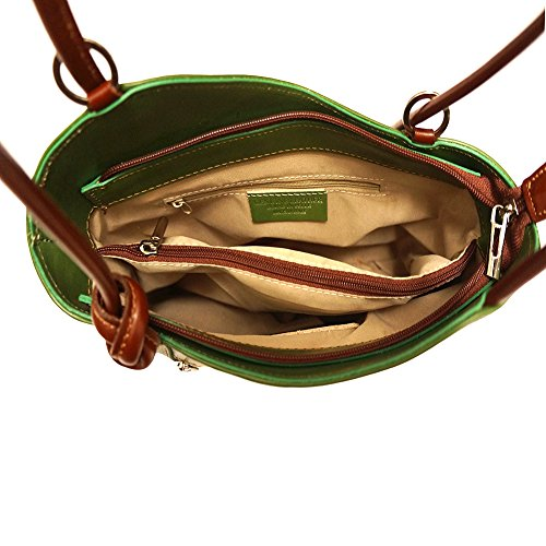 FLORENCE LEATHER MARKET Borsa a spalla trasformabile in zaino 207 (Verde-Marrone)