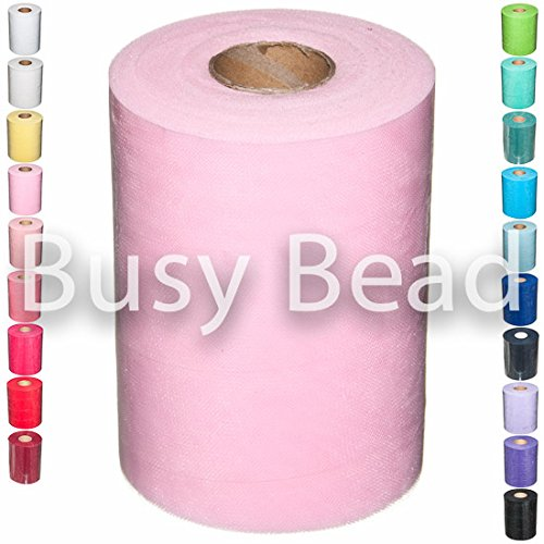 Busybead 6 inch x 10m Tulle Fabric Cut Length - Pink