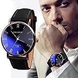 Yogogo Herren Quartz Analog Armband , 1 Cent Artikel Armbanduhr | Lederband | Dekoration | Sportuhr | Geschenk | Alugehäuse | Quarzwerk | 24cm Bandlänge (Schwarz)