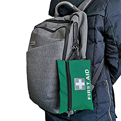 Mini First Aid Kit,92 Pieces Small First Aid Kit - Includes Emergency Foil Blanket, CPR Respirator,Scissors for Travel, Home, Office, Vehicle,Camping, Workplace & Outdoor (Green) 5