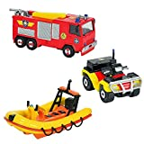 Sam El Bombero - Fireman Sam - Mini Serie Die Cast - Set Vehículos Júpiter, Neptuno, Quad