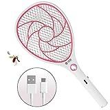 ZOMAKE Raqueta Matamoscas Electrico Matamosquitos, Plagas Insectos Asesino Repelente, Mata Insectos - USB Recargable - 3000 Voltios (Rojo)