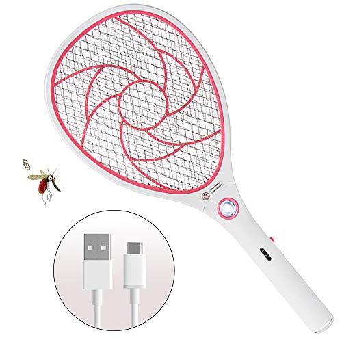 ZOMAKE Elektrische Fliegenklatsche Fliegenfänger Moskito Zapper, Insekten Mörder - USB Wiederaufladbar - 3000 Volt - Doppelte Schichten Mesh Schutz (Rot)
