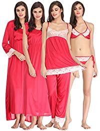 Clovia Women's 7 Pc Satin Nightwear Set