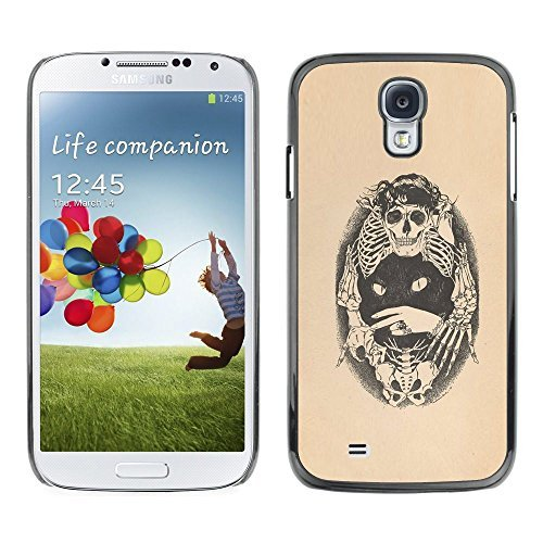 All Phone Most Case / Hard PC Metal piece Shell Slim Cover Protective Case Tasche Schutzhülle Hülle Für Samsung Galaxy S4 I9500 Skull Bones Cat Tattoo Beige Black (Color Tattoo Metal)