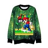 Haililais Super Mario Bedrucken Pullover Locker T-Shirt Lässige Oberteil Top Sport Sweater Rundhals Outerwear für Herren und Damen