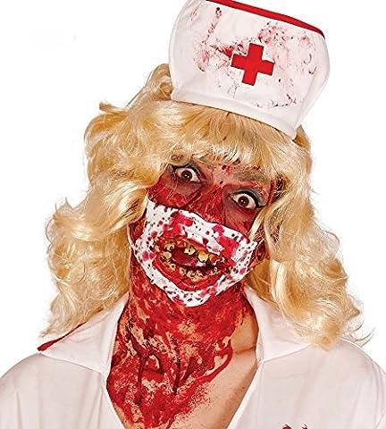 Mundschutz mit Blut-Spritzern und schiefen Zombie-Zähnen Halloween Accessoire (Blutige Kettensäge)