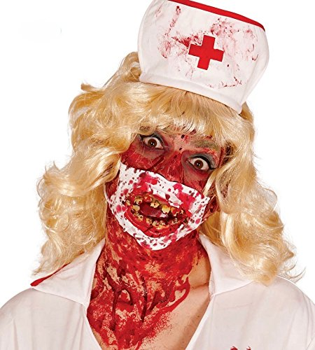 mit Blut-Spritzern und schiefen Zombie-Zähnen Halloween Accessoire ()