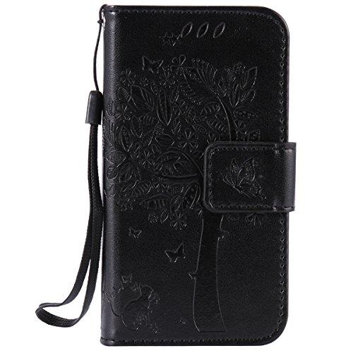 ISAKEN Kompatibel mit iPhone 4 4S Hülle, PU Leder Flip Cover Brieftasche Geldbörse Wallet Case Ledertasche Handyhülle Tasche Schutzhülle mit Handschlaufe Strap für iPhone 4 4S - Baum Katze Schwarz