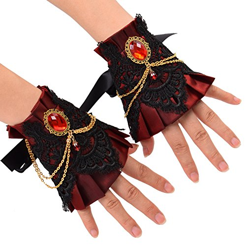 GRACEART Gotisch Handgelenk Manschette Armband mit Kette Weinrot (2 Stück)