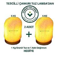 2 Adet 5'er Kg Doğal Tuz Lambası + 1 Kg Granül Tuz ve Öğütücü Hediye