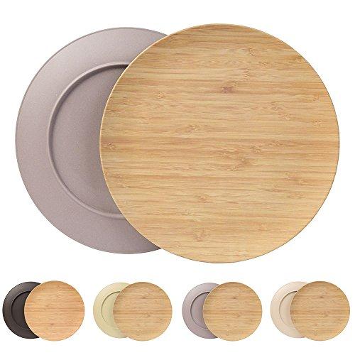 Ensemble durable creuse assiette Kaufdichgrün I Assiette pour enfants et de camping en bois de bambou pour le dîner I 4 pièces d'assiette plate ronde 25,5 cm gris, sans BPA