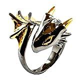 Black Knight Dragon Ring by MONVATOO London, ein Drachenring-Schmuckstück in freier Größe (verstellbares Band) mit Black ruthenium und 18 Karat vergoldet