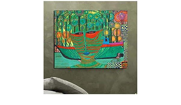 nr Friedensreich Hundertwasser Leinwand Malerei Druck Wohnzimmer Wohnkultur Moderne Wandkunst Poster-50x70cm Rahmenlos