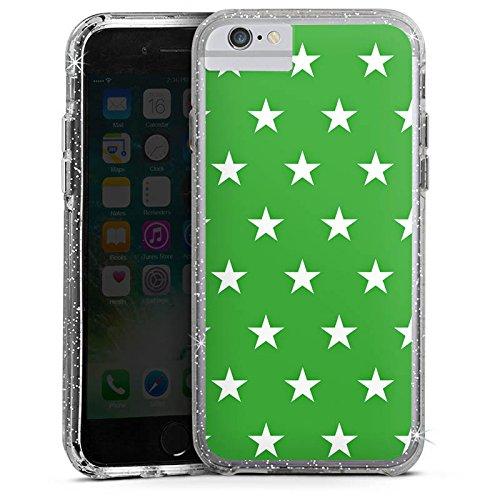 Apple iPhone 6 Plus Bumper Hülle Bumper Case Glitzer Hülle Sterne Stars Pattern Bumper Case Glitzer silber