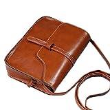 TUDUZ Damen Vintage Handtasche Tasche Leder Cross Body Schultertasche Messenger Bag (Braun)