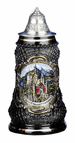 ISDD Kuckucksuhren Deutscher Bierkrug Lozenge Stein Neuschwanstein Stein 0,5 Liter Bierkrug -