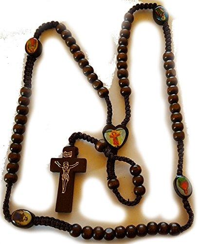 Dunkles Holz Rosenkranz Kruzifix Kind Jesus Herz St. Ikonen