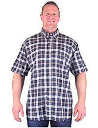 Big Mens Black Tan Cotton Valley Led Short Sleeve Shirt Sizes 2xl to 8xl