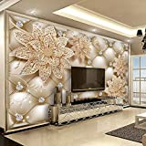 YunYiBZ Foto Wallpaper 3D Diamante Fiore Gioielli Murales Salotto TV Divano Sfondo Muro Carta per pareti 3D affreschi,200cm(W) x100cm(H)