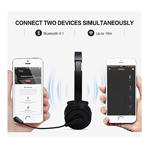 Kommuie V4.1 Bluetooth Headset/Truck Driver Headset, Wireless Over Head Earpiece With Noise