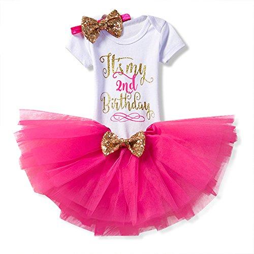 NNJXD Mädchen Neugeborene Es ist mein 1. Geburtstag 3 Stück Outfits Strampler + Rock + Stirnband Größe (2) 2 Jahre Rose (Kleinkind-mädchen-geburtstags-outfits)