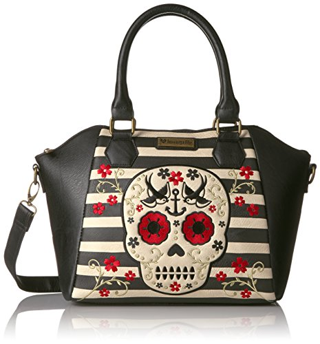 loungefly-motif-floral-rouge-a-rayures-motif-sugar-skull-sac-a-bandouliere