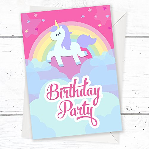 Birthday-Party-Invitations-Unicorn-Rainbow-Pink-Invites-Ages-1st-2nd-3rd-4th-5th-6th-Ready-to-Write-with-Envelopes-Pack-10