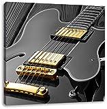 elegante E-Gitarre schwarz/weiß, Format: 60x60 auf Leinwand, XXL riesige Bilder fertig gerahmt mit Keilrahmen, Kunstdruck auf Wandbild mit Rahmen, günstiger als Gemälde oder Ölbild, kein Poster oder Plakat