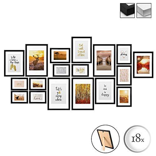 bomoe 18er Set Bilderrahmen Passion Bilder-Collagen Fotorahmen aus Holz, Plexiglas, Metall-Aufhängung, Aufsteller & Passepartout - 6X 10,5x15cm / 4X 13x18cm / 4X 18x24cm / 4X 20x30cm - Schwarz